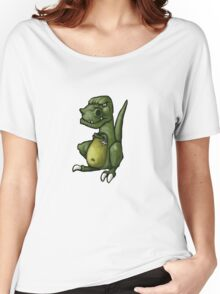 Very grumpy green dinosaur in a mood Women's Relaxed Fit T-Shirt