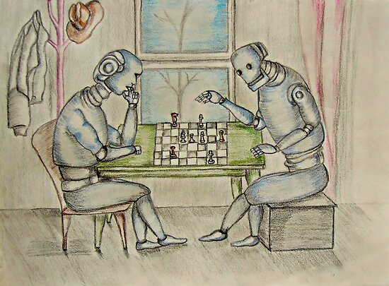 robots  enjoy playing chess  by thuraya o