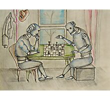 robots  enjoy playing chess  Photographic Print