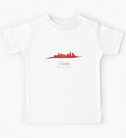 Charlotte skyline in red Kids Tee
