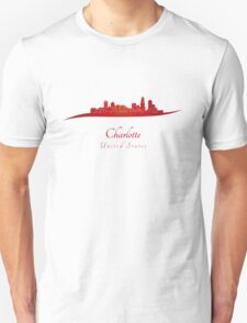 Charlotte skyline in red T-Shirt