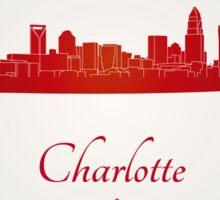 Charlotte skyline in red Sticker