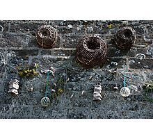 Fishing baskets, glass floats and nets, Brittany, France Photographic Print