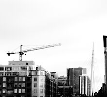 B&W Cranes and Buildings by Jake Kauffman