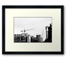 B&W Cranes and Buildings Framed Print