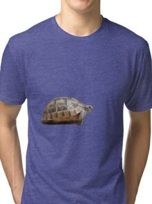 Sideview of A Walking Turkish Tortoise Isolated Tri-blend T-Shirt