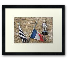 Seafaring figure with Breton and French flags, Brittany, France Framed Print