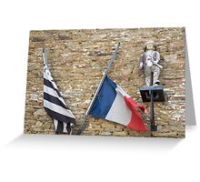 Seafaring figure with Breton and French flags, Brittany, France Greeting Card