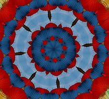 Primary Colours Parasol Kaleidoscope Mandala by taiche