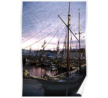 Tall ships in dock at sunset, Brest Maritime festival, France Poster
