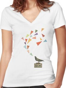 Pigeon Radio Women's Fitted V-Neck T-Shirt