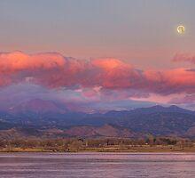 Colorado Front Range Longs Peak Full Moon Sunrise by Bo Insogna