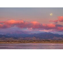 Colorado Front Range Longs Peak Full Moon Sunrise Photographic Print