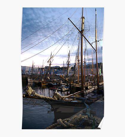 Tall ships in dock at sunset, Brest Maritime festival 2008, France Poster