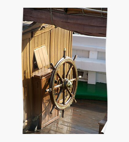 Traditional wooden ships wheel, Brest Maritime Festival 2008 , France Poster