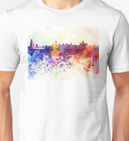 Chicago skyline in watercolor background Unisex T-Shirt