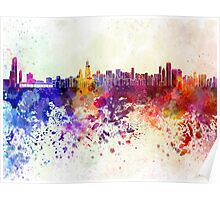 Chicago skyline in watercolor background Poster
