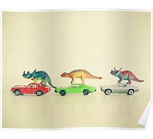 Dinosaurs Ride Cars Poster