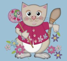 Cute Kitty with Fish Lollipop Kids Tee