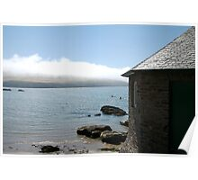 Cottage and sea fog, Mothecombe, South Hams, Devon, England, UK Poster