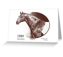 Red Frontier Thoroughbred Prego 1989 Drawing Greeting Card