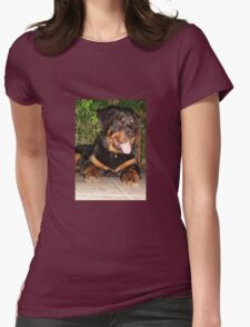 Beautiful Adolescent Female Rottweiler In Garden Womens Fitted T-Shirt