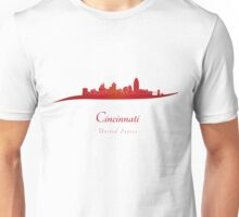 Cincinnati skyline in red Unisex T-Shirt
