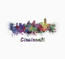 Cincinnati skyline in watercolor One Piece - Short Sleeve