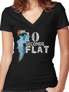10 Seconds Flat Women's Fitted V-Neck T-Shirt