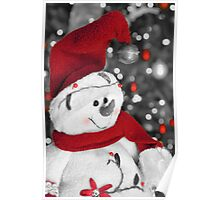 Frosty Christmas Red B&W Poster