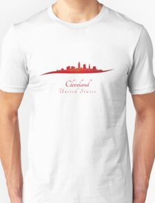 Cleveland skyline in red T-Shirt