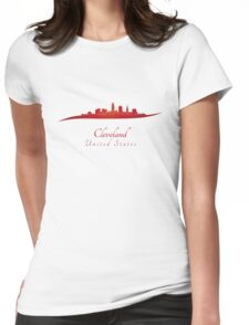 Cleveland skyline in red Womens Fitted T-Shirt