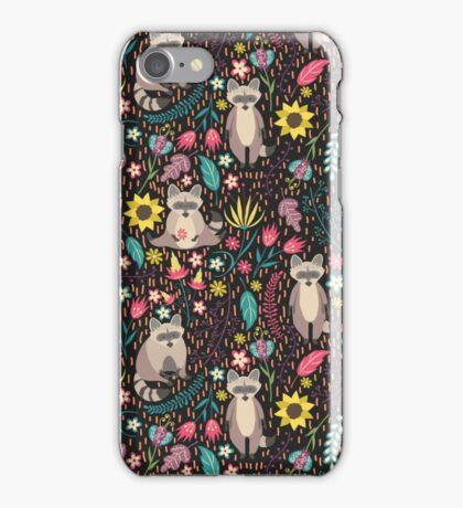 Raccoons bright pattern iPhone Case/Skin