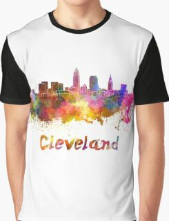 Cleveland skyline in watercolor Graphic T-Shirt