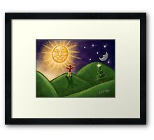 Greeting The Solstice Sun, Christmas Card for Pagans Framed Print
