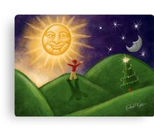 Greeting The Solstice Sun, Christmas Card for Pagans Canvas Print