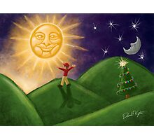 Greeting The Solstice Sun, Christmas Card for Pagans Photographic Print