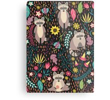 Raccoons bright pattern Metal Print