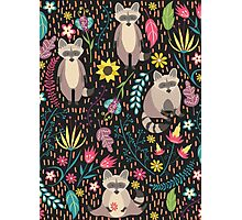Raccoons bright pattern Photographic Print