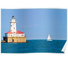 Chicago harbor lighthouse. Chicago, IL, USA Poster