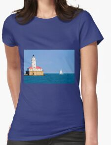 Chicago harbor lighthouse. Chicago, IL, USA Womens Fitted T-Shirt