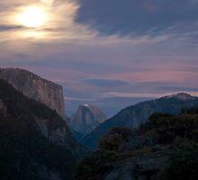 Half Dome & El Capitan in the moonlight by Jonathan Coe