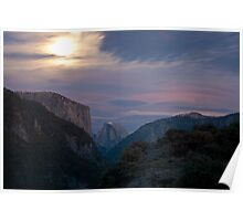 Half Dome & El Capitan in the moonlight Poster