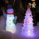 Snowman and Christmas Tree Lights by Jane Neill-Hancock
