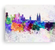 Cologne skyline in watercolor background Canvas Print