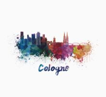 Cologne skyline in watercolor One Piece - Short Sleeve