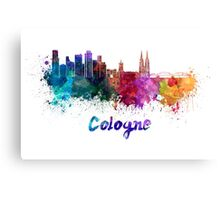 Cologne skyline in watercolor Canvas Print