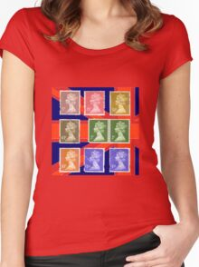 British Royal Mail postage stamps  Women's Fitted Scoop T-Shirt