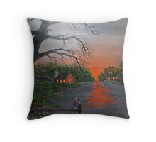 Sunset Fishing on the Dock Throw Pillow