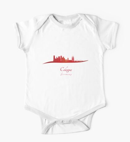 Cologne skyline in red One Piece - Short Sleeve
